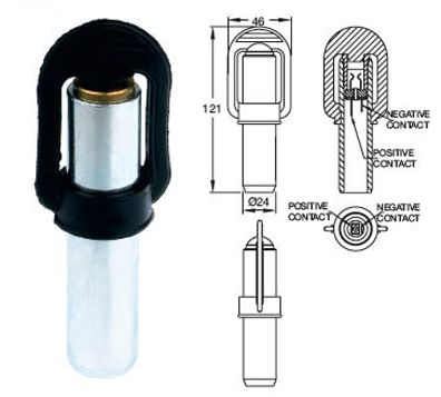 DIN / Hella Pole Mount for Beacons (Product code 13109 01)